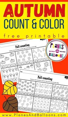 Fall counting kindergarten worksheets - free printable math number worksheets 1-10 and 1-20. #kindergarten #prek #fall #planesandballoons Learning Numbers Preschool, Counting Worksheets For Kindergarten, Printable Preschool Worksheets, Number Worksheets, Fun Learning, Free Printables, Counting Activities, Homeschool Kindergarten, Homeschooling