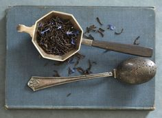 The Earl Grey from Bellocq Tea Atelier. Tea, old silver, a tattered book... just a few of my favorite things.