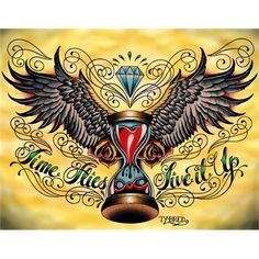 Time Flies by Tyler Bredeweg Hourglass Wings Tattoo Canvas Art Print