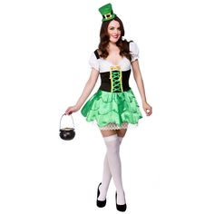 Cheap fancy dress costumes in ireland - Dress style Cheap Fancy Dress, St Patrick's Day Costumes, Leprechaun Costume, Irish Fashion, Fabric Headbands, Green Satin, Cute Woman, Short Dresses, Clothes For Women