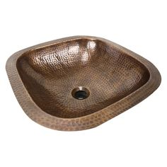 Nantucket SQRC-OF Brightwork Home Square Undermount Hammered Copper Bathroom Sink With Overflow
