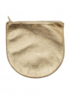 Baggu Medium Leather Pouch in  Gold