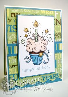 The Buzz:GIVEAWAY! Birthday Card, featuring Birthday Cupcake, a digital stamp from #MelJen's Designs.