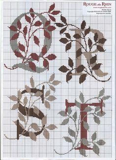 Leaves ABC cross stitch pattern