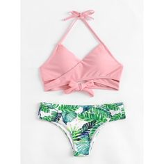 Shop Palm Print Wrap Self Tie Bikini Set online. SheIn offers Palm Print Wrap Self Tie Bikini Set & more to fit your fashionable needs. Bikini Sexy, Bikini Swimwear, Bikini Tops, Micro Swimwear, Bikini Beach, Trendy Swimwear, Cute Swimsuits, Cute Bathing Suits, Bikini Photos
