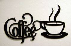 11 Black Bistro Coffee Sign with Mug by ReflectiveEdgeDesign