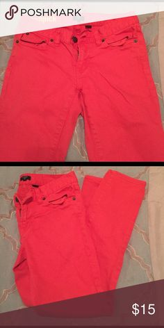 J. Crew Toothpick pants Red orange tooth pick pants. Decent quality due to the color at the point. The pictures show the color quality well. J. Crew Pants Ankle & Cropped