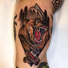 Native American Grizzly bear tattoo on the sleeve