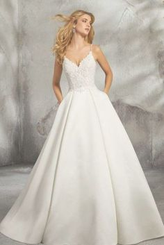 Wedding Morilee 8272 Luella Satin Ball Gown Wedding Dress - Classic Duchess Satin Ballgown Featuring a Feminine, Beaded Alençon Over Chantilly Lace Bodice. Matching Satin Bodice Lining Included. Shown in Ivory/Nude Wedding Dress Tea Length, Top Wedding Dresses, Classic Wedding Dress, Wedding Dress Sleeves, Long Sleeve Wedding, Princess Wedding Dresses, Bridal Dresses, Gown Wedding, Backless Wedding