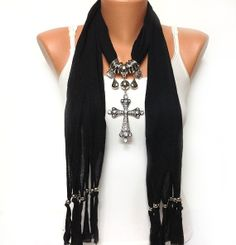 black cross jewelry scarf- I got this one! But has a butterfly Scarf Knots, Scarf Jewelry, Cross Jewelry, Back To Black, Refashion, Fashion Beauty, Jewelry Making, Fashion Outfits, My Style