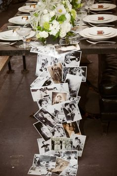 34 DIY Wedding Decor Ideas For The Bride on A Budget DIY Wedding Decor - DIY Photo Table Runner - Easy and Cheap Project Ideas with Things Found in Dollar Stores - Simple an. Anniversary Parties, Wedding Anniversary, Anniversary Ideas, Anniversary Party Centerpieces, Parents Anniversary, Silver Anniversary, Diy Wedding, Dream Wedding, Wedding Ideas