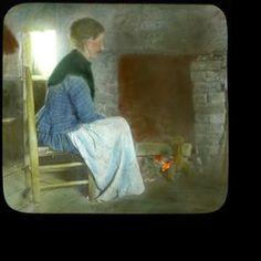 Mountaineer Woman Before Open Fireplace, ca. 1900-1915 - Kentucky Digital Library