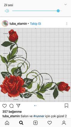 Cross Stitch Borders, Cross Stitch Rose, Cross Stitch Flowers, Cross Stitch Charts, Cross Stitching, Cross Stitch Embroidery, Cross Stitch Patterns, Crochet Stitches Patterns, Beading Patterns