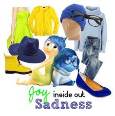 """Joy & Sadness (Inside Out) Disneybound"" by alexcail on Polyvore #followmypolyvore"