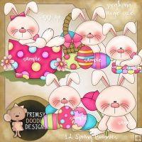 12- Spring bunnies clipart