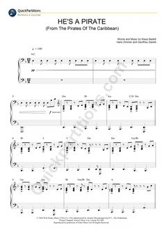 Partition Piano He's A Pirate (Pirates Des Caraïbes) - Klaus Badelt