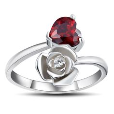 Heart Cut Garnet 925 Sterling Silver Promise Rings For Her Lajerrio Jewelry