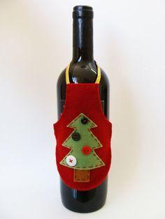 avental para vinho - artesanato de natal com feltro                                                                                                                                                                                 Mais
