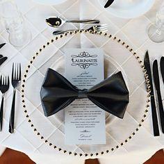 Lovely wedding place setting complete with bow-tie napkins James Bond Wedding, James Bond Party, James Bond Theme, Wedding Reception, Our Wedding, Dream Wedding, Formal Wedding, Wedding Ideas, Mariage James Bond