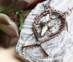 Shark Tooth Necklace. Hammered Copper. Wire Wrap Necklace. Fossil Necklace. Pendant Necklace. Tribal Necklace. Shark Tooth Jewelry. Artisan by LonettaAvelarDesigns on Etsy https://www.etsy.com/listing/160980664/shark-tooth-necklace-hammered-copper