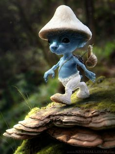 Smurf Sighting by *NateHallinanArt on deviantART Actually a creature in a symbiotic relationship with a mushroom.
