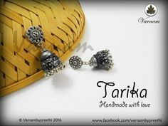 Another oxidized jhumka from us. This time double domed, rugged and with hanging ghungroos :) Code name: Tarika #handmadelove #varnambypreethi #tarika #jhumkas #quilled #oxidized #ghungroos #chennai #accessories #earrings #jewelry