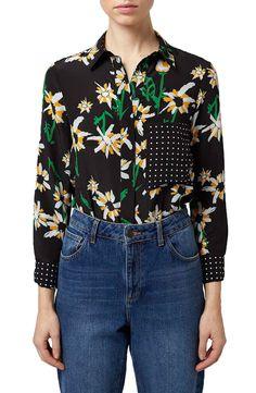 Topshop Boutique 'Daisy' Print Silk Shirt