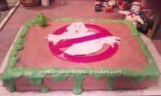 Homemade Ghostbusters Birthday Cake: I created this Ghostbusters Birthday Cake for my boyfriend's birthday. He is a huge Ghostbusters fan. The cake is dark chocolate with chocolate mouse 28th Birthday, Baby Birthday, Birthday Ideas, Birthday Parties, Ghostbusters Cake, Ghostbusters Birthday Party, Cake Cookies, Cupcake Cakes, Cupcakes