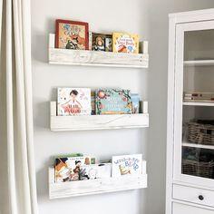 Nursery Bookshelves 28 Inch Set of 3 Whitewash Floating Bookshelves, Rustic Floating Shelves, Bookshelves For Kids Room, Hanging Bookshelves, Wood Bookshelves, Nursery Bookshelf, Nursery Storage, Book Shelf For Nursery, Baby Room Shelves