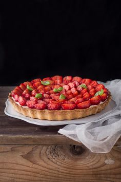 Strawberry Balsamic Tart with Mascarpone Cream  recipe at www.bakenoir.com