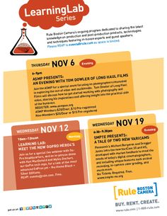 Join us for any or all of these November events here at Rule Boston Camera. See more details on our website at www.rule.com.