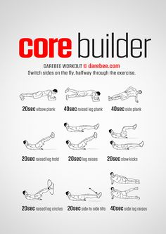 Core Builder Workout from Darebee At Home Core Workout, Workout Routine For Men, Gym Workout Tips, Pilates Workout, Fitness Workouts, At Home Workouts, Fitness Tips, Men Core Workout, Core Workouts For Men