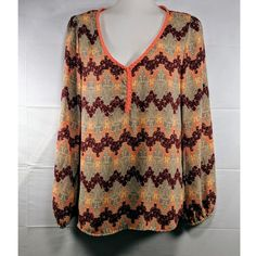 • Xhilaration top• gray, burgundy, neon orange and yellow chevron top• light weight fabric• long, balloon sleeves• gen... Orange Long Sleeve Shirt, Long Sleeve Tops, Yellow Chevron, American Eagle Dress, Bubble Skirt, Olive Green Color, Love Clothing, Denim Button Down, Sustainable Clothing