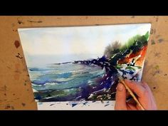 "Watercolor paintings Landscape Demo ""Rainy beach"" by Mikko Tyllinen - YouTube"