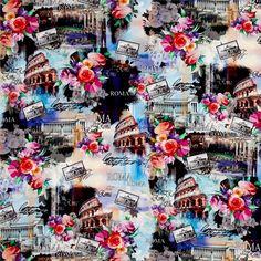 Bavlněná látka Roma, digitální tisk, Wish You Were Here