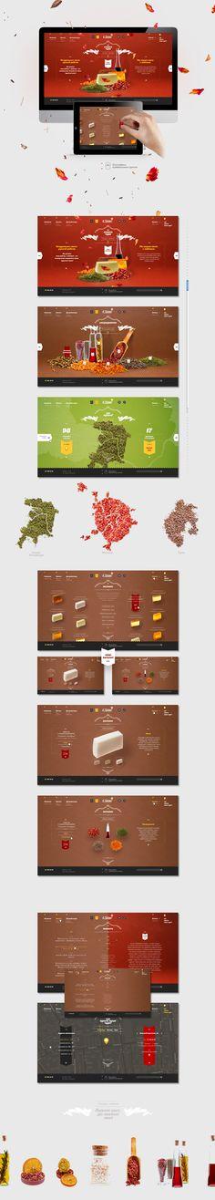 Web design by Sergei Gurov, via Behance- love the textures and color scheme Food Web Design, Modern Web Design, App Design, Graphic Design, Design Case, Graphic Art, Design Ideas, Gui Interface, User Interface Design