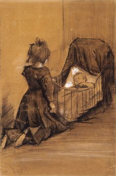 Girl Kneeling by a Cradle - Vincent van Gogh . Created in The Hague in March, Located at Van Gogh Museum Art And Illustration, Vincent Van Gogh, Artist Van Gogh, Van Gogh Art, Van Gogh Museum, Art Van, Rembrandt, Claude Monet, Van Gogh Zeichnungen