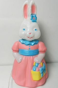 "Vintage Blowmold Easter Bunny Lighted 26"" Girl Rabbit Blow Mold Yard Decor"