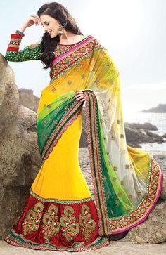 $155.68 Yellow Embroidered Net Wedding Lehenga Saree 23555