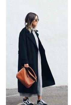 Maxi dress + coat.