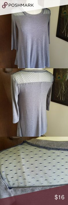 BOUTIQUE Tunic top with mesh shoulders MODIFIED Knit tunic with blue mesh shoulders. 3/4 length sleeves. Loose fitting. Tops Tunics