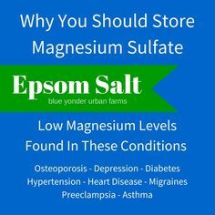 Why You Should Store Magnesium Sulfate | Blue Yonder Urban Farms | Karen Coghlan | #byuf #blueyonderurbanfarms #karencoghlan #epsomsalt #magnesium #sulfate | http://blueyonderurbanfarms.com/7774/why-you-should-store-magnesium-sulfate/