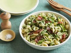 Spinach-Ricotta Pesto Pasta with Crisp Prosciutto and Asparagus~A thick sauce that will nest inside the pocket of each orecchiette noodle!