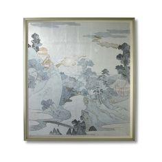 Williams-Sonoma Asazawa Stream ($1,250) ❤ liked on Polyvore featuring home, home decor, wall art, portrait painting, mountain wall art, mountain home decor, landscape painting and landscape wall art