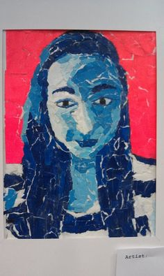 Painted paper portrait ~Smith Middle School, Miss Murphy