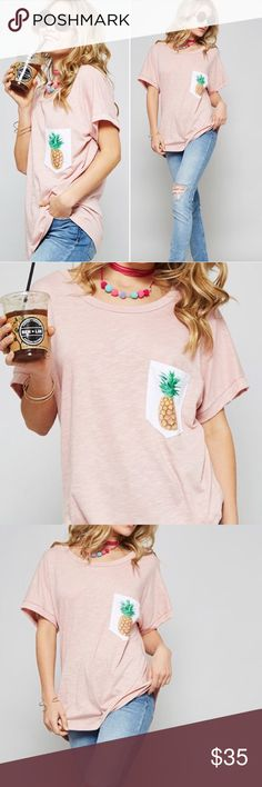 "Pineapple Pocket Tee Pineapples oh my! Blush pink color. Made with premium burnout material for a super comfy and stretchy fit!   ▫️Add to Bundle"" to add more items in my closet or ""Buy"" to checkout here with your size.  ↓Follow me on Instagram ↓         @ love.jen.marie Twilight Gypsy Collective Tops Tees - Short Sleeve"