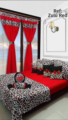 Ref: Zulú Red Disponible en cortinas, cojines, juegos de baño y sábanas en todas las medidas: Sencilla (1mx1.90m), Semi (1.20mx1.90m), Doble (1.40mx1.90m), Queen (1.60mx1.90m) y King (2mx2m) #Zulu #Dalotex #Lenceria #Hogar #Sabanas #moda #colors #Chic #SabanasDalotex #Animalprint Cute Curtains, Elegant Curtains, Bed Cover Design, Bed Design, Diy Room Decor, Bedroom Decor, Designer Bed Sheets, Polka Dot Bedding, Bedroom Red