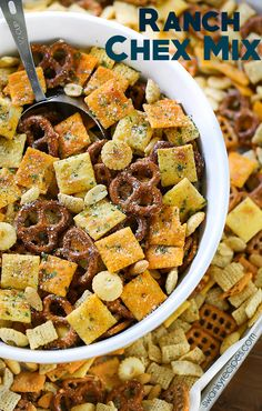 30 Addicting Snack Mix Recipes: Yummy Munchies Ranch Chex Mix made for a crowd. My favorite snack mix is loaded with peanuts, cheese crackers, pretzels, and rice cereal. This easy zesty Ranch Chex Mix is perfect for parties and school lunches. Snack Mix Recipes, Yummy Snacks, Appetizer Recipes, Healthy Snacks, Cooking Recipes, Appetizers, Healthy Snack Mixes, Trail Mix Recipes, Cooking Dishes