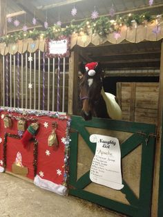 My horse's Christmas Stall for our Stall Decorating contest in 2012... Naughty List with bags of coal hanging over the fireplace and in his stocking! We won :) Apache wasn't amused that the truth about him being naughty came out!