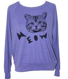 Womens CAT SWEATSHIRT  american apparel S M L  3 by skipnwhistle, $29.00
